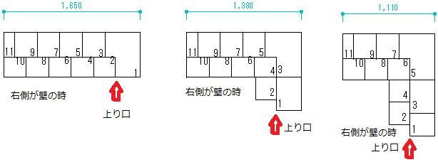 互い違い階段左に曲がる場合の設置スペース