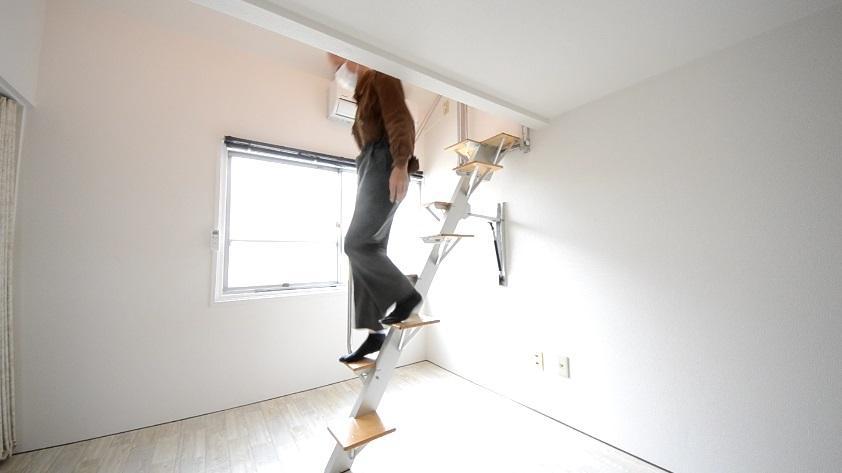 ロフトの階段互い違い階段ロフトくん 下りるとき